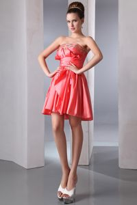 Beading Strapless Coral Red Short Cocktail Dress For Prom