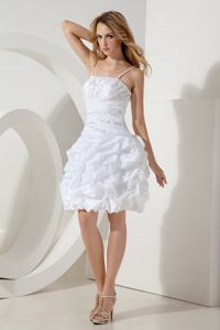 White Straps Beading Mini-length Cocktail Dress with Pick-ups