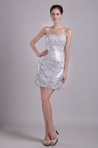 Silver Column Strapless Short Sequins Cocktail Party Dresses