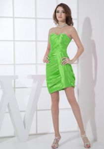 Spring Green Sweetheart Ruched Wedding Cocktail Party Dress
