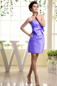 Lilac Strapless Dresses For Cocktail Party with Bowknot and Ruches
