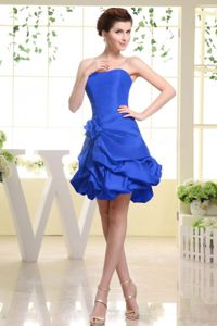 Strapless Royal Blue Taffeta and Hand Made Flower Cocktail Dress