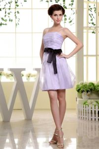 Spaghetti Straps Short Lilac Wedding Cocktail Party Dresses with Sash