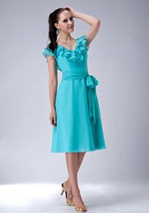 Ruffled V-neck Turquoise Tea-length Evening Cocktail Dress