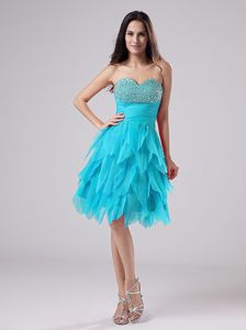 Aqua Beaded Bust Cocktail Homecoming Dress with Ruffled Skirt
