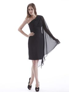 Black One Shoulder Chiffon Cocktail Dress with One Long Sleeve