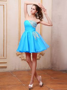2013 Baby Blue Dresses For Wedding Cocktail Party with Appliques