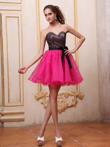 Designer Hot Pink Cocktail Dress with Sequined Fabric and Bowknot
