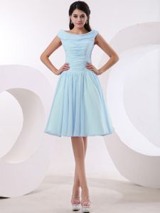 Bateau Neckline and Ruched Bodice Baby Blue Cocktail Dresses