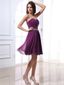 Purple Sweetheart Cocktail Dress For Celebrity with Beads and Ruches