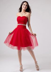 Ruched Bust and Beaded Sash Knee-length Red Cocktail Dress