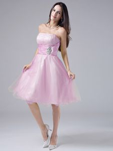 Baby Pink Prom Cocktail Dress with Beaded Bust and Pleated Waist
