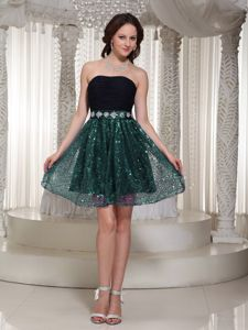 Black and Teal Cocktail Dress with Ruched Top and Sequined Skirt