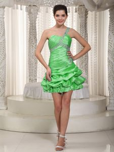 Green One Shoulder Taffeta Cocktail Dresses with Beaded Strap