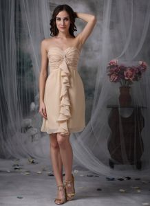 Sweetheart Champagne Sheath Ruched Prom Cocktail Dress