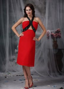 Red and Black V-neck Chiffon Cocktail Dress with Beaded Straps
