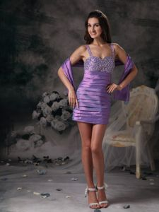 Lavender Pleated Cocktail Dress with Straps and Beaded Bust