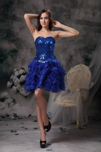 Sweetheart Royal Blue Mini-length Cocktail Dress with Beading