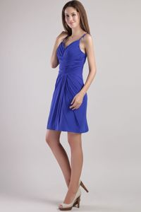 Royal Blue Straps Column Chiffon Beaded Ruched Cocktail Dress