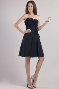 Appliques Empire Strapless Chiffon Black Prom Cocktail Dress