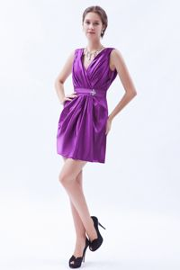 Eggplant Purple V-neck Cocktail Dress with Beading and Ruche