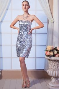 Sequin and Beading Strapless Column Cocktail Dress in Silver