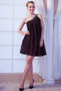 Brown One Shoulder Empire Beading Mini-length Cocktail Dress