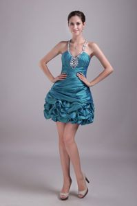 Halter Beading and Pick-ups Cocktail Reception Dress in Teal