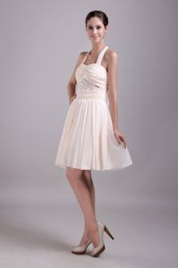 Champagne Halter Beading Ruched Empire Prom Cocktail Dress
