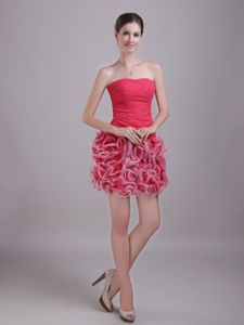 Ruched and Ruffled Layers Red Column Strapless Cocktail Dress