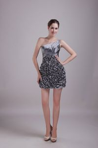 Ruffles Grey One Shoulder Mini-length Sequins Cocktail Dress