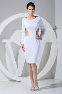 Scoop Backless Long Sleeves White Cocktail Dress with Cutout
