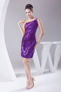 One Shoulder Purple Sequin Prom Cocktail Dress with Beading
