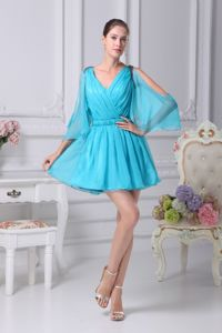 Aqua Blue V-neck Long Open Sleeves Cocktail Dress with Belt