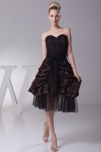 Brown Sweetheart Knee-length Prom Cocktail Dress with Sash