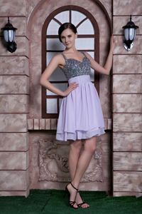 Spaghetti Straps Beading Homecoming Cocktail Dress in Lilac