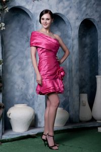 Flower A-line Strapless Cocktail Dress Taffeta in Hot Pink