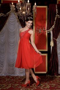 One Shoulder Empire Prom Cocktail Dress in Red with Beading