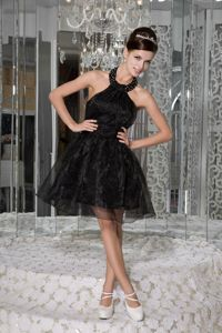 Black Halter A-line Cocktail Dress with Beading and Ruches