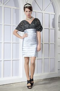 Sequin Black and Silver Short Sleeves Ruched Cocktail Gown