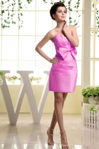 Strapless Fuchsia Mini-length Bowknot Ruched Cocktail Dress