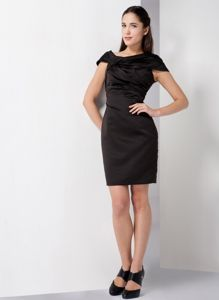 Satin Off The Shoulder Black Ruched Cocktail Dress For Prom
