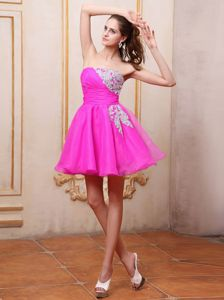 Mini-length Fuchsia Cocktail Party Dresses With Appliques