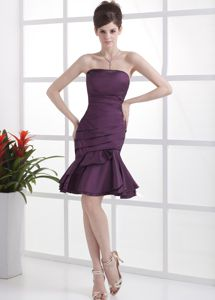 Knee-length Dark Purple Prom Cocktail Dresses With Ruchings