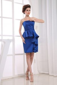 Mini-length Royal Blue Cocktail Reception Dress With Ruche