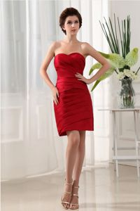 Ruche Over Skirt Mini-length Wine Red Cocktail Party Dress