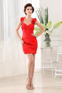 Red Halter Column Taffeta Mini-length Cocktail Dress Beaded