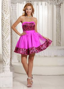 Zebra Organza Short Pink Cocktail Party Dresses for Cheap