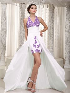 High Low White Halter Appliques Cocktail Party Dress Ruched
