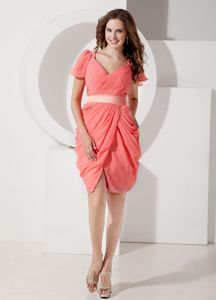 Chiffon V-neck Watermelon Short Cocktails Dresses with Belt